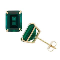 Emerald Green Emerald 10K Gold Stud Earrings