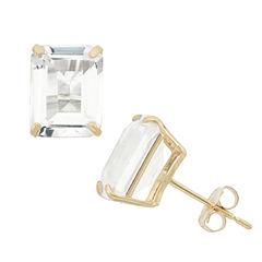 Emerald White Sapphire 10K Gold Stud Earrings