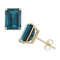 Emerald Blue Topaz 10K Gold Stud Earrings