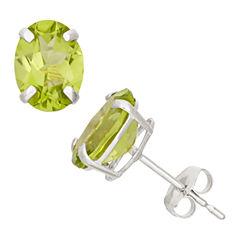 Round Green Peridot 10K Gold Stud Earrings