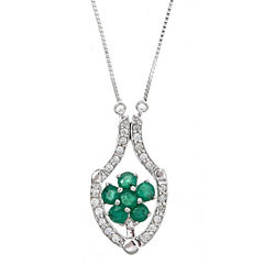 LIMITED QUANTITIES! 1/6 CT. T.W. Green Emerald 14K Gold Pendant Necklace