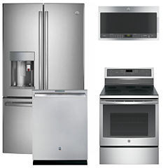 Ge 4 Pc Electric Kitchen Package Stainless Steel