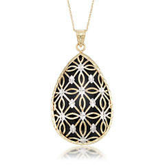 Womens Black Onyx 10K Gold Pendant Necklace