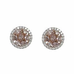 1 1/2 CT. T.W. Pink Diamond 18K Gold Stud Earrings