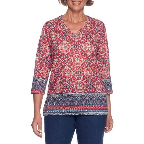 Alfred Dunner Gypsy Moon 3/4 Sleeve V Neck Medallion T-Shirt-Womens