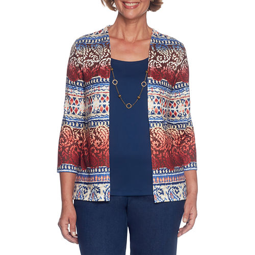 Alfred Dunner Gypsy Moon 3/4 Sleeve Scoop Neck Layered Sweaters