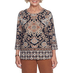 Alfred Dunner Jungle Love 3/4 Sleeve Crew Neck Medallion T-Shirt-Womens