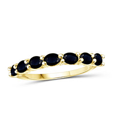 Womens Color Enhanced Blue Sapphire Gold Over Silver Delicate Ring
