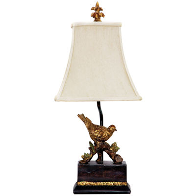 Perching Robin Gold Leaf Table Lamp