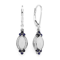Genuine Moonstone and Lab-Created Blue and White Sapphire Sterling Silver Earrings