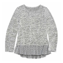 Arizona Long Sleeve Sweater Knit Top w/ Mesh Detail - Preschool Girls