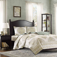 Harbor House Miramar Cotton Printed Quilted Damask + Scroll Coverlet