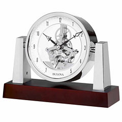 Bulova Largo Dark Mahogany Finish Table Clock-B7520