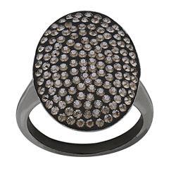 Crystal Black Rhodium Sterling Silver Ring