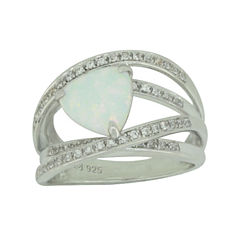 Lab-Created Opal & White Sapphire Sterling Silver Crossover Ring