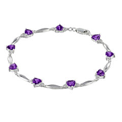 Genuine Amethyst & Diamond Accent Heart-Shaped Sterling Silver Bracelet