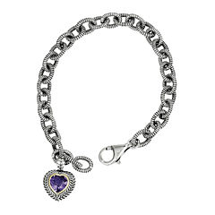 Shey Couture Sterling Silver Genuine Amethyst Heart Link Bracelet