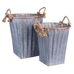 Household Essentials Galvanized Metal 2-pc. Storage Bin