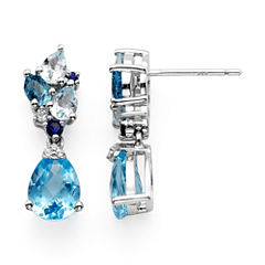 Genuine Swiss Blue and Sky Blue Topaz Drop Earrings