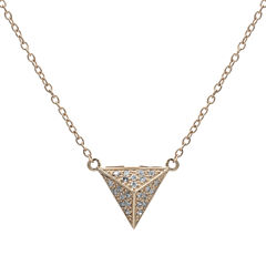 Diamond-Accent 10K Rose Gold Pyramid Necklace