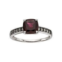 Sterling Silver Red Garnet & Smoky Quartz Ring