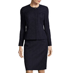 R&K Originals® Long-Sleeve Collarless Jacket and Skirt Suit Set