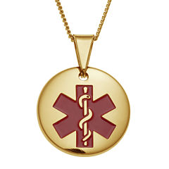 Personalized Gold-Tone IP Stainless Steel Circle Engraved Medical ID Pendant Necklace