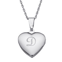 Personalized Silver over Brass Girls Engraved Heart Locket Pendant Necklace