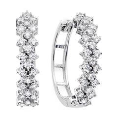 1 CT. T.W. Diamond 10K White Gold Double-Row Hoop Earrings