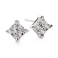 Diamond-Accent 10K White Gold Quad-Framed Stud Earrings
