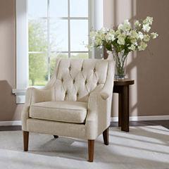 Madison Park Elle Button Tufted Fabric Club Chair