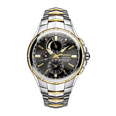 Seiko® Coutura Mens Two-Tone Stainless Steel Solar Perpetual Calendar Chronograph Sport Watch SSC376