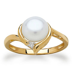 Certified Sofia™ Cultured Freshwater Pearl & Diamond Accent Ring