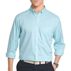 IZOD Advantage Stretch Long Sleeve Gingham Checked Button-Front Shirt