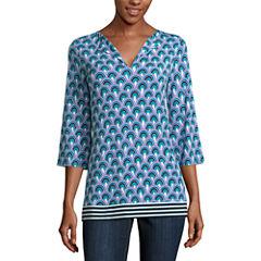 Nicole By Nicole Miller Long Sleeve V Neck Jersey Pattern Blouse