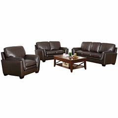 Melanie Leather Sofa + Loveseat Set