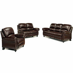 Sophia Leather Sofa + Loveseat Set