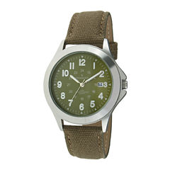 Peugeot® Mens Green Canvas Strap Military Watch