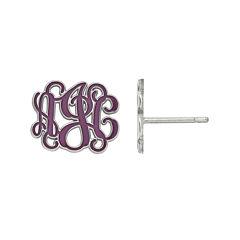 Personalized 13mm Sterling Silver Enamel Monogram Stud Earrings
