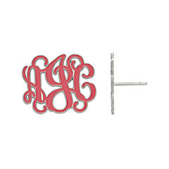 Personalized 19mm Sterling Silver Enamel Monogram Stud Earrings