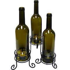 Epicureanist™ Set of 3 Wine Bottle Tealight Candle Holders