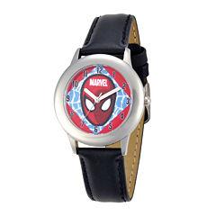 Marvel Spider-Man Kids Black Leather Strap Watch