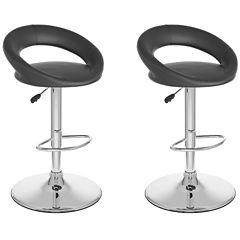 Round Back Adjustable Barstools- Set of 2