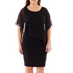 Scarlett Elbow-Sleeve Cape Dress - Plus