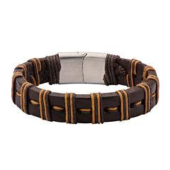 Mens Brown Leather Threaded Stainless Steel Bracelet