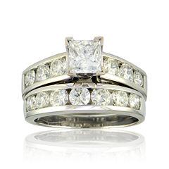 3 CT. T.W. Diamond 14K White Gold Bridal Ring Set