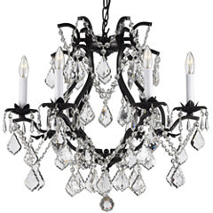 Gallery Versailles 6-Light Wrought Iron and Crystal Chandelier