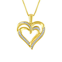Womens 1/10 CT. T.W. Diamond 14K Gold Over Silver Heart Pendant Necklace