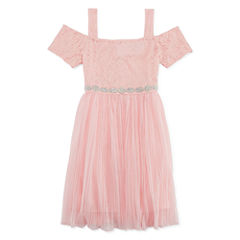 My Michelle Short Sleeve Cap Sleeve Party Dress - Big Kid Girls