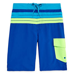 Arizona Boys Solid Swim Trunks-Big Kid